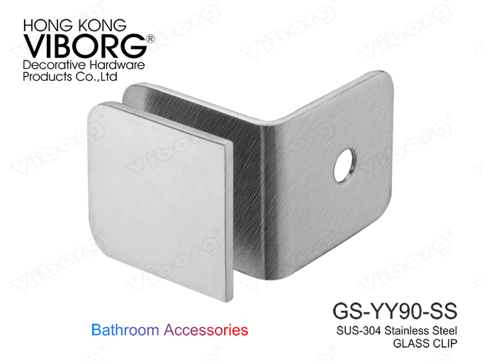 (1 pair) VIBORG SUS304 Stainless Steel 90 Degree Frameless Shower Door Wall-mount Glass Clamp, GS-YY90-SS(China (Mainland))
