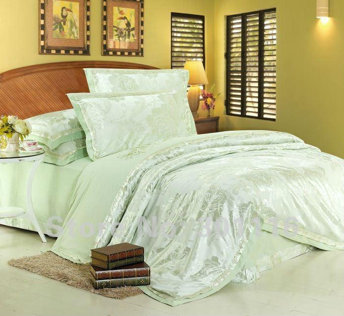 buy spring green bedding 4pcs jacquard cotton bedding set comforter set. Black Bedroom Furniture Sets. Home Design Ideas