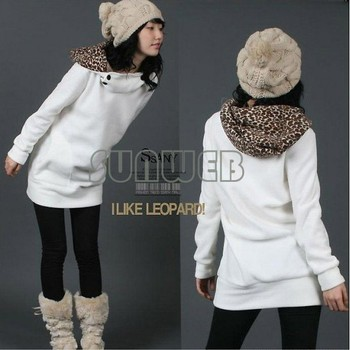 Womens Autumn Sweatshirts Hoodies Leopard Top Outerwear Parka Coats White/ Black Four Size free shipping  51