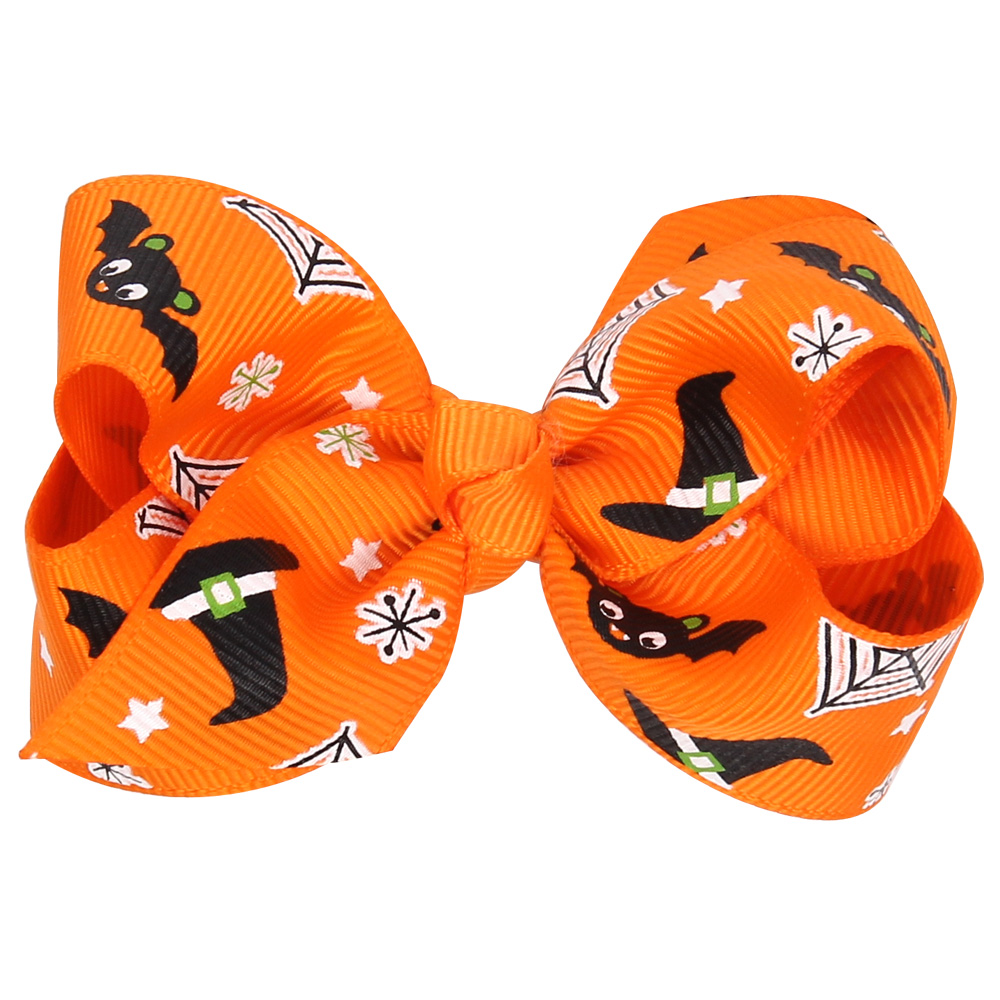 1 pieces New Arrive Halloween Style Baby Bow Knot Hair Clip Pumpkin Head Hair Band Baby