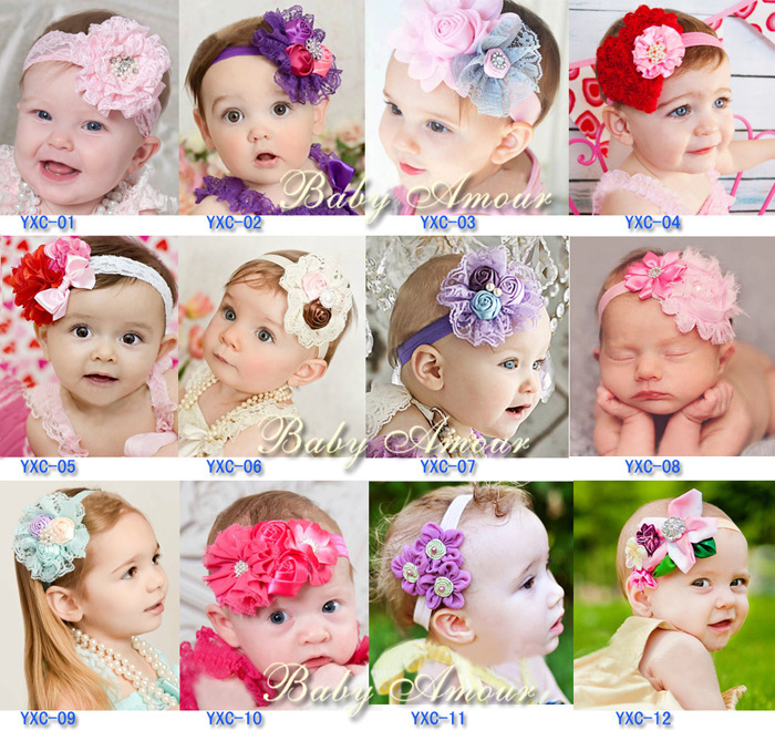 Children Lovely lace head flower baby Headband Headwear Hair Accessories Infant Band 30 - First Outdoor Choice store