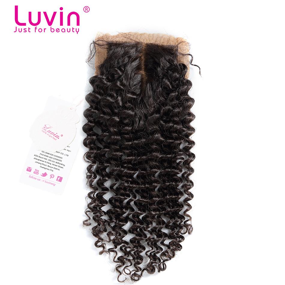 "Deep Curly Bleached Knots Silk Base Closure 4""*3.5"" Brazilian Deep Wave Human Hair Closure 6A Grade Luvin Hair Shipping Free"