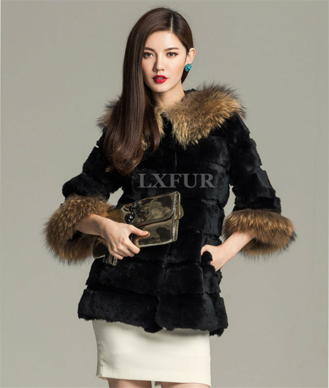 Fashion Womens Real Rabbit Fur Coat Raccoon Hoody Winter Warm Outwear Long Parka LX00022