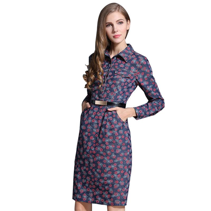 Women Floral Printed Denim Dresses Long Sleeve 2016 Spring New Plus Size Elegant Midi Jeans Pencil Dress Vestidos 1820