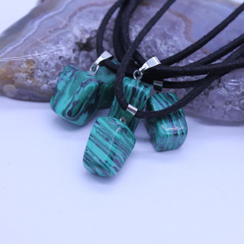 5PCS Natural stone pendant Malachite jade Charms necklaces & pendants Fashion Jewelry choker necklace Bijoux Chain(China (Mainland))