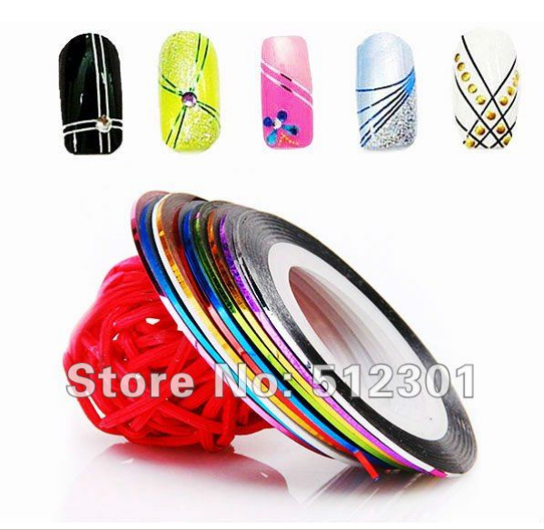 Fashion 20 Color 20PCS beauty Metallic Yarn Line Rolls Striping Tape Nail Art Beauty Decoration Sticker nail art(China (Mainland))