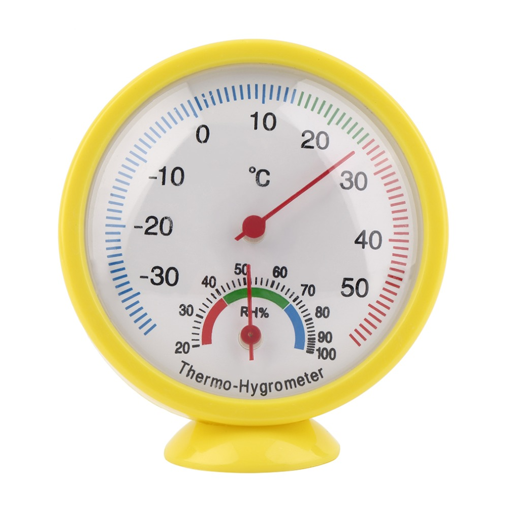Mini Yellow Practical Indoor Outdoor Mechanical Thermometer Hygrometer Termometro Temperature Humidity Meter Weather Monitor New(China (Mainland))