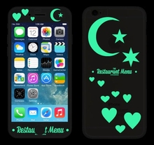 Night Luminous relief Phone Screen Protector Tempered Glass Fim front+back moon stars design cover for iPhone 6 case 6SPlus