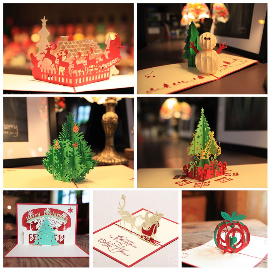 Handmade Christmas Greetings Cards Kirigami 3D Pop up Card 7PCS/ SET Combination Sale Free Shipping<br><br>Aliexpress
