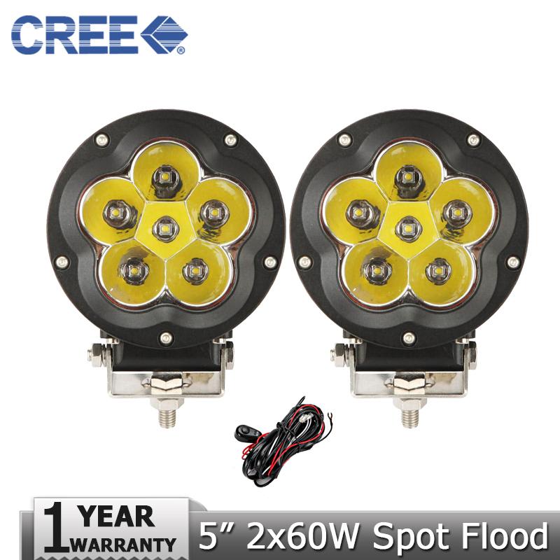 "Фотография CREE 2x60W 5"" LED Driving Light Fog Lamp Combo Headlight Offroad Led Work Light for 12v 24v UTE Tractor 4WD Truck ATV Car 4x4"
