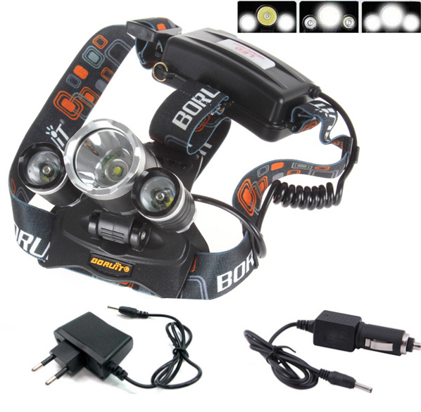 Boruit RJ3000 Rechargeable LED Headlamp Multi-Color Camp Hike Head Light CREE XML T6+R5 5000 Lumens With Car Charger<br><br>Aliexpress