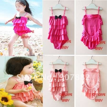 Hot sale Free shipping Baby Girls Lovely Suspender Ruffle Swimwear Kids One-piece Romper Beachwear Children Swim dress wholesale