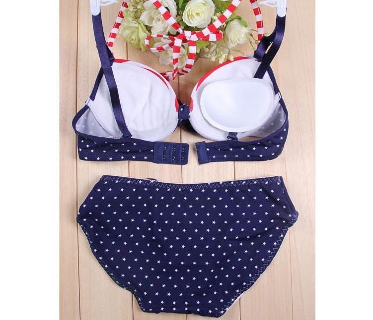 Navy style sweet corset adjustable stripe bikini lingerie bra set 08