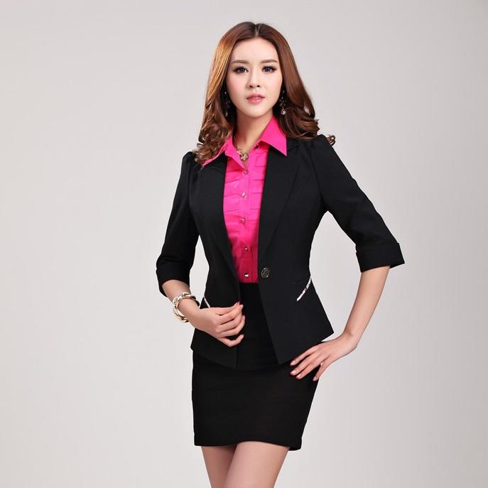 2016 spring ladies office uniform style work wear women skirt suits