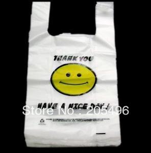 Rolling reusable plastic shopping tote bags for supermarket cute smile face white 20*32cm Free Shipping wholesale 50pcs/lot(China (Mainland))