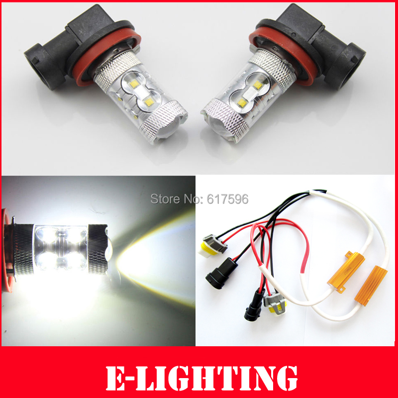 PAIR SUPER Bright 50W Xenon White H11 CREE LED Fog Light DRL HeadLight + Resistors No Error for Audi A3 A4 A5 S5 A6 Q5 Q7 TT(China (Mainland))