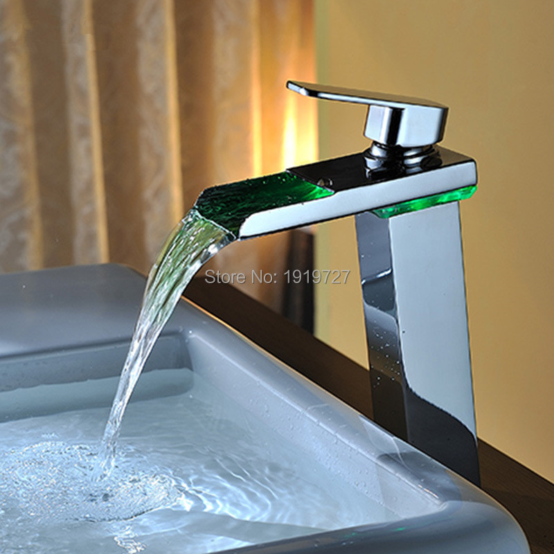 Brass Temperature Sensor Led Faucet 3 Color Water Double Handle Waterfall High Bathroom Tap Wash Tub(China (Mainland))