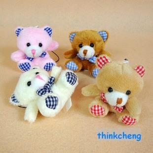 Stuffed animal toy teddy bear little doll plaid fabric foot cartoon mobile phone pendant Gift(China (Mainland))