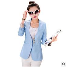 Autumn Women Blazer 2015 Casual Female Outwear Jacket Plus Size Print Candy Color Coat Long Sleeve