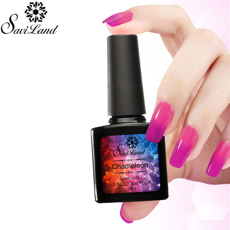 Saviland 1Pcs Promotion Thermal Temperature Change Nail Gel Polish 10ml UV Soak Off Gel Varnish Changes Color Nail Gel