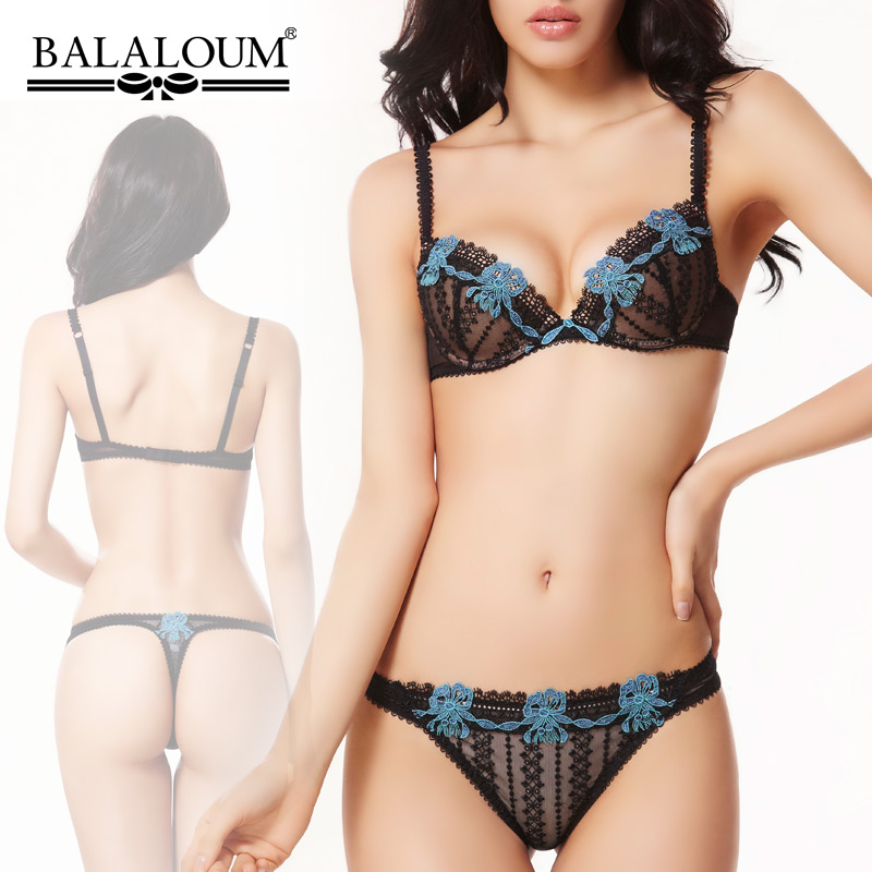 Plus Size 38B 38C Balaloum Comfortable body shaping Embroidery Floral bra Set Beauty care Brief Women sexy push up underwear set(China (Mainland))