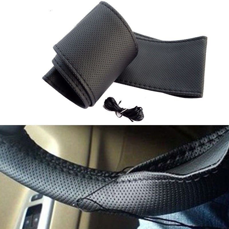 Universal Truck Car Steering Wheel Cover With Needles and Thread Artificial leather Black Hot sale 2015