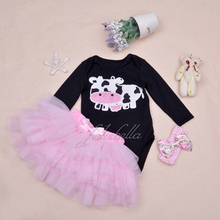 Baby Girl Clothing Sets Black Bodysuit jumpsuits Girls Pettiskirt Set Pink Princess Tutu Skirt Headband  Newborn Clothes(China (Mainland))