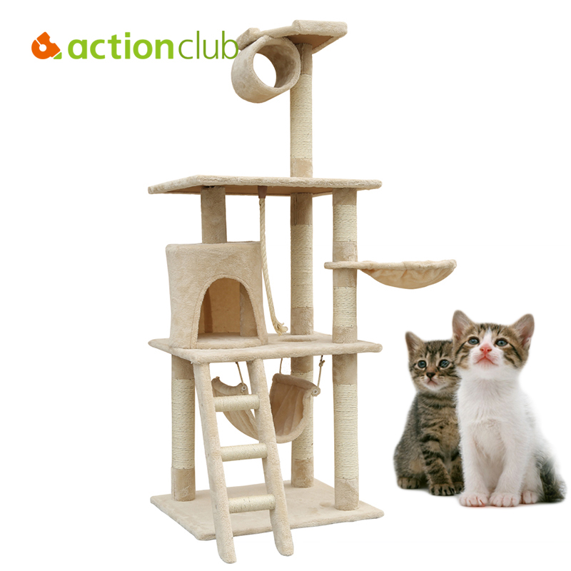Actionclub USA Domestic Delivery Cat Climbing Tree With Ladder Cat Scratching Climbing Wooden Frame Pet Multi Layers Furniture(China (Mainland))