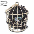 Golden Metal Bird Cage Fashion Women Evening Totes Bags Handbags Famous Brand Party Banquet Prom Clutch