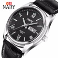 Nary Watches Men Business Fashion Leather Wristwatch Waterproof Watches Quartz Watch Personality Casual Relogio W0830