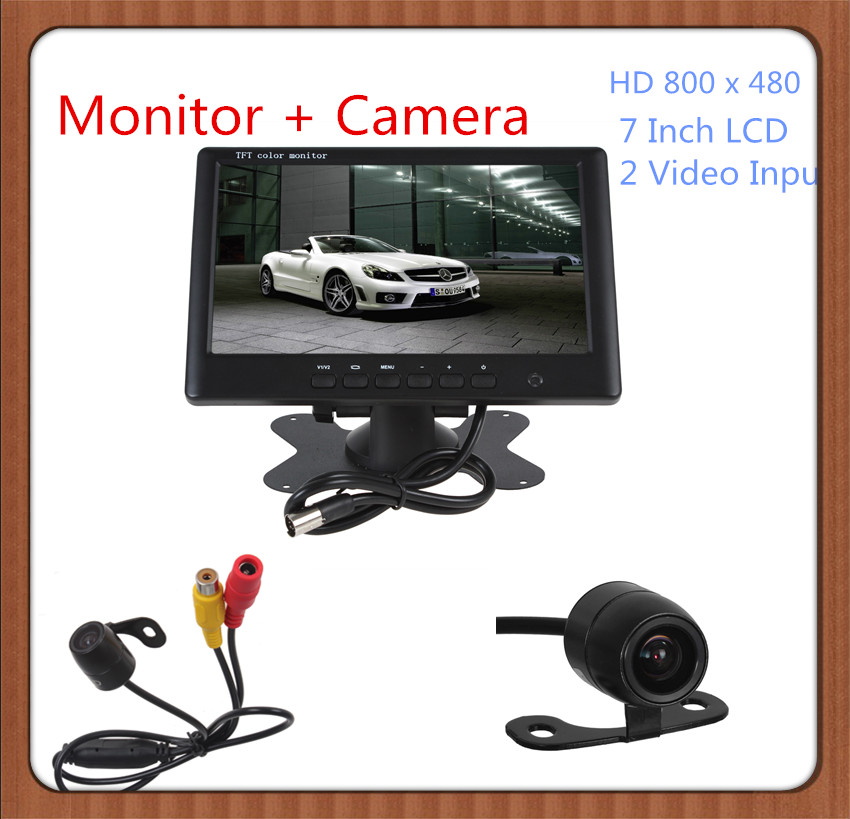 HD 800 x 480 Super Thin 7 Inch Color TFT LCD 2 Channels Video Input Car Rear View Monitor + E306 18mm Color CMOS /CCD Car Camera<br><br>Aliexpress