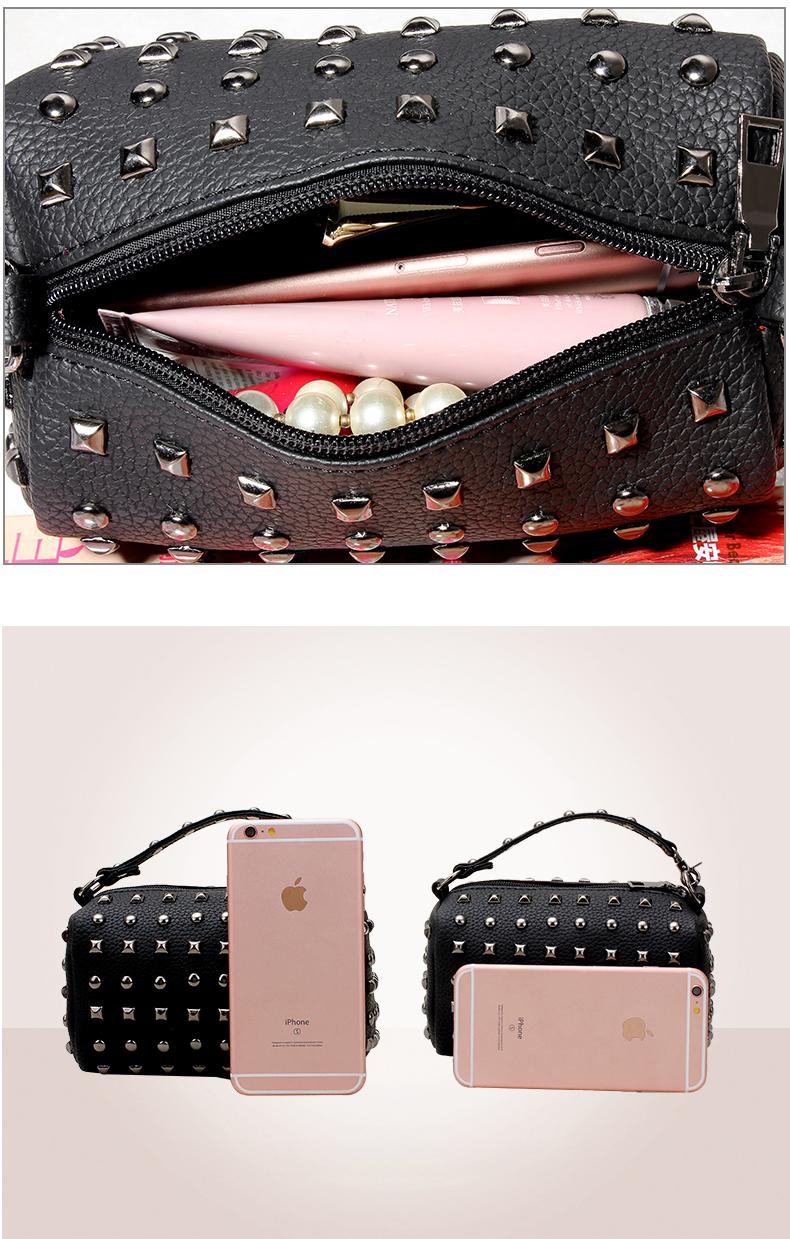 Rivet-studded Edgy MINI Chain Bag 2016 Korean Style Small Hand Bag Fashion Pillow-shaped Cheap Shoulder Bag Designer Crossbody
