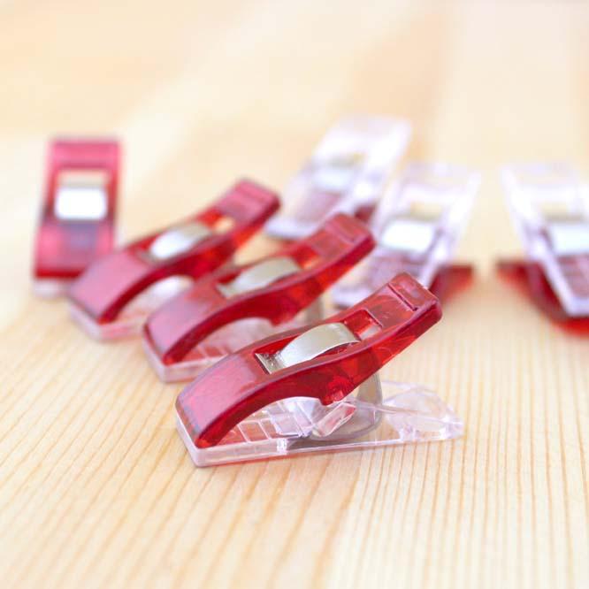 Гаджет  50PCS Red PVC Plastic Clips For Patchwork Sewing DIY Crafts, Quilt Quilting Clip Clover Wonder Clip 2.7*1CM None Офисные и Школьные принадлежности