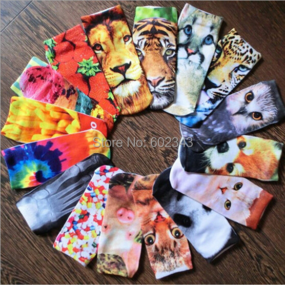 1pair 3D Printed Socks Women New Unisex Cute Low Cut Ankle Socks Multiple Colors Cotton sock