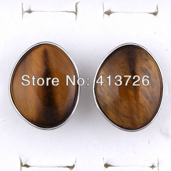 wholesale 10Pcs Charm Silver Plated Tiger Eye Stone Random Shape Adjustable Finger Ring Jewelry 27x33mm