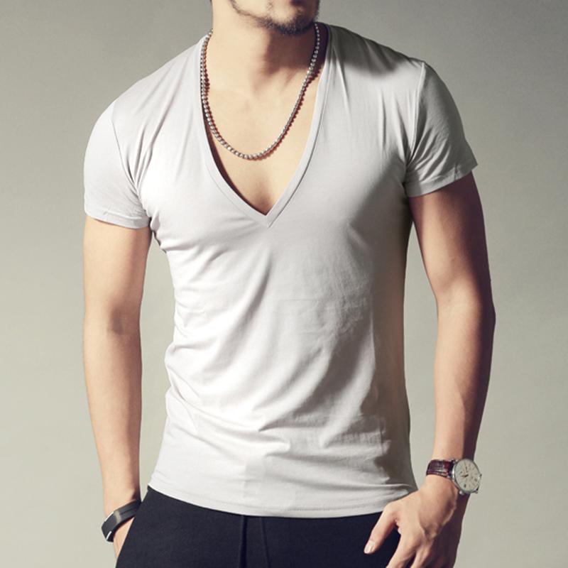 Men 39 s brand v neck sexy t shirt men cotton lycra t shirts for Branded v neck t shirts