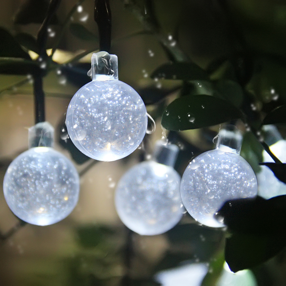 Outdoor String Lights White: Solar Globe String Lights 30 Led Outdoor Lights White Ball