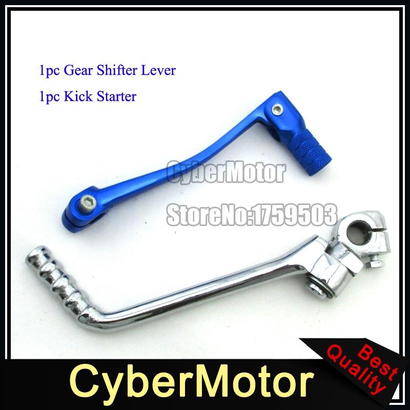 Chrome Kick Starter Blue Gear Shifter Lever For Pit Dirt Bike XR50 CRF50 KLX110 SSR Lifan YX Engine 50 90 110 125 150 160 cc(China (Mainland))