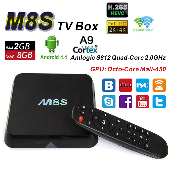M8S Android 4.4 Smart TV Box Amlogic S812 4K 2G/8G XBMC kodi 14.2 Dual Band Wifi H.265 HEVC HD Media Player M8 Bluetooth Mini PC(China (Mainland))