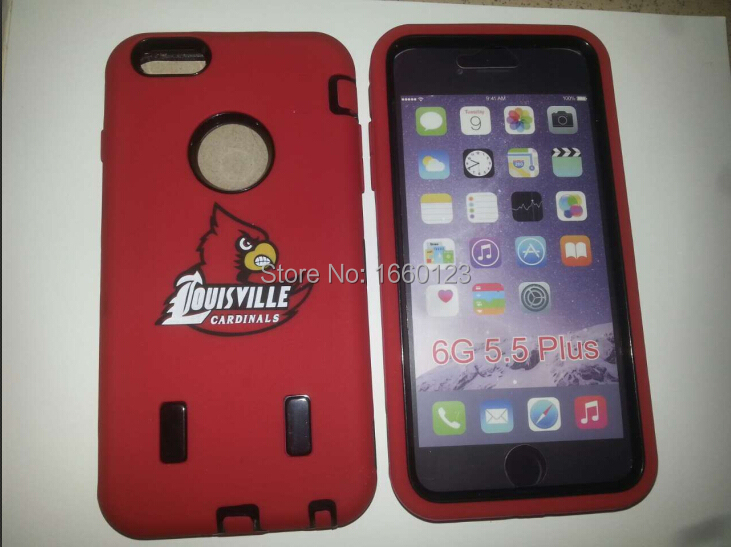 Customs design shockproof protective LOUISVILLE CARDINAL Case for iphone 6 plus/5S/S4/S5/S6 ,100pcs /lot free shipping by DHL(China (Mainland))