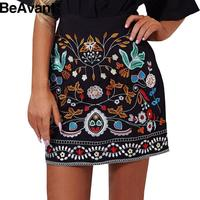BeAvant Ethnic embroidery floral short skirt  Autumn high waist slim skirts womens Vintage 90's winter 2016 bohemian mini skirts