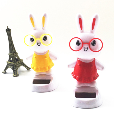 Car interior sun shaking head cartoon animals twisted cute rabbit ornaments solar car ornaments(China (Mainland))