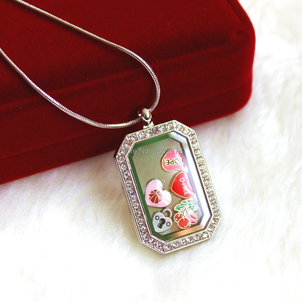 rectangle memory locket with CZ stones, living locket, glass locket, floating locket,10pcs/lot ,free shipping(China (Mainland))
