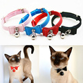 Cute Bow Decor Ajustable Pet Collar with Bell Dog Puppy Pet Cat Necklace Elegant Kitten Velvet