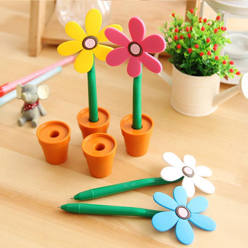 Creative sunflower ball-point pen, flowerpot lovely pen Office stationery - The best online shopping mall store