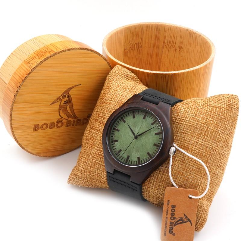 Bobobird Мужчины Минималистский Натурального Бамбука Японские Кварцевые Деревянный Циферблат Кожаный Ремешок Наручные Часы, коричневый