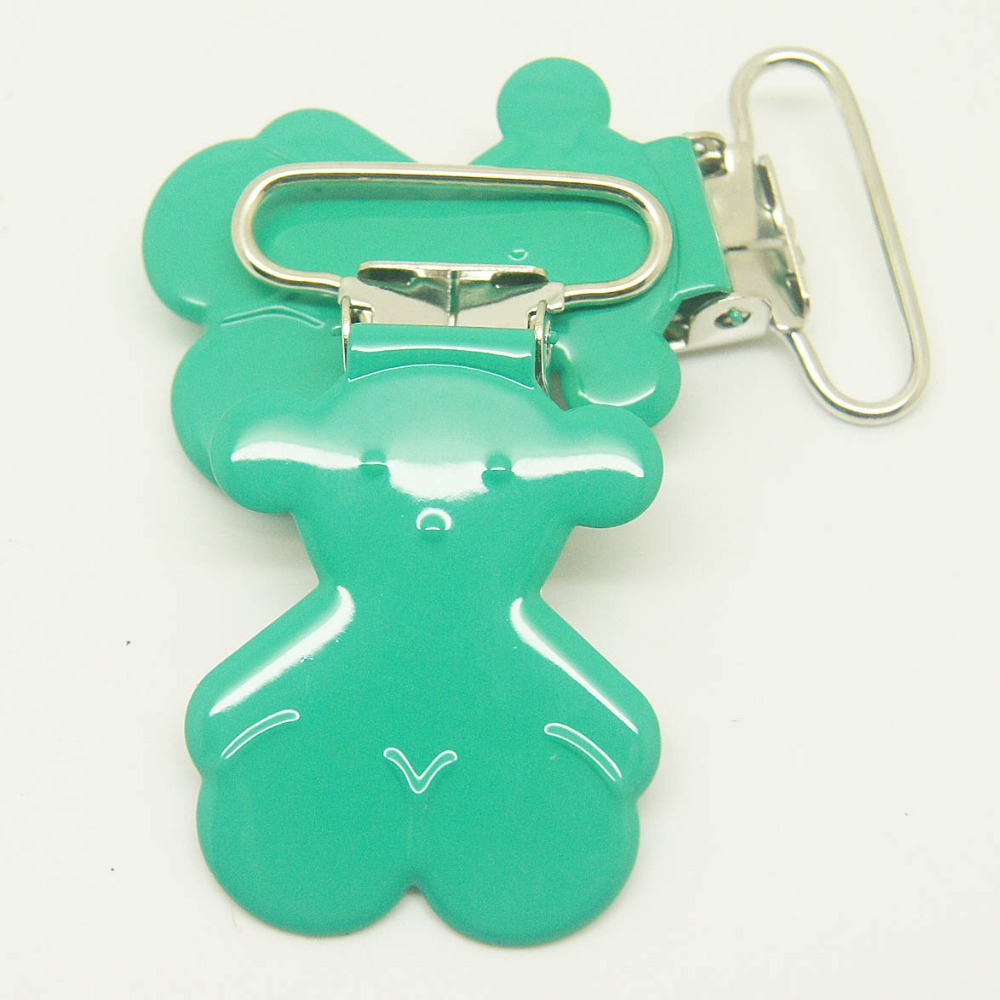 5,bear shaped suspender clip bottle green color 25mm ribbon clips pacifier