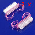 2Pcs Nail Art Plastic Cleaning Brush Finger Nail Care Dust Clean Handle Scrubbing Brush Tool File