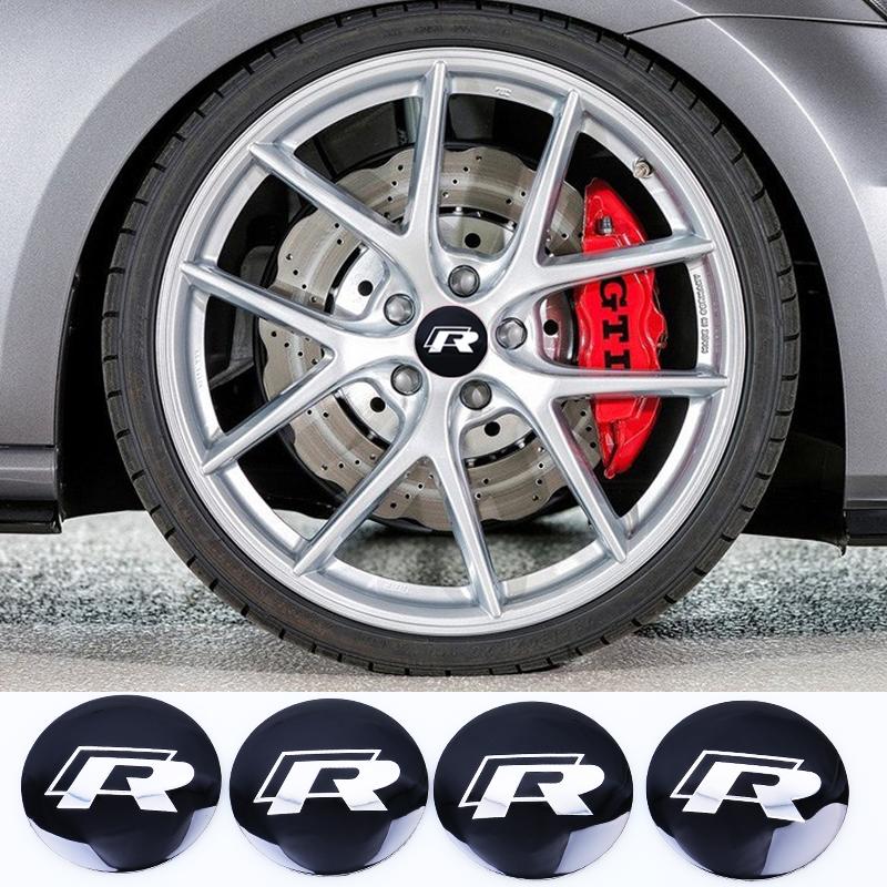 4Pcs/lot 56.5mm Metal R Logo Wheel Center Hub Caps Emblem Badge For VW Volkswagen Golf Car Badge Decal Car Decoration Sticker(China (Mainland))