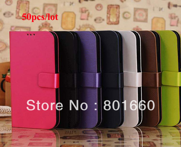 50pcs/lot Wire Drawing PU Leather Flip Stand Cover Case For Samsung Galaxy S IV S4 I9500